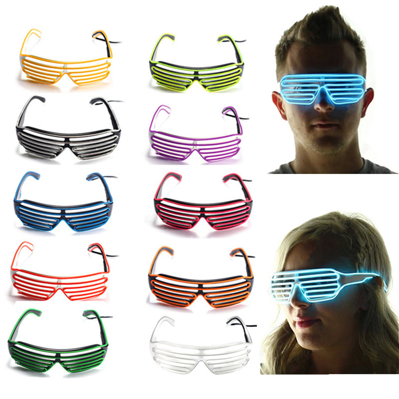 2015 Hot Sale New Arrival Hot Sale 10 Colours EL Wire Neon LED Light Up Shutter Fashionable Glasses for Costume Party Festival(China (Mainland))