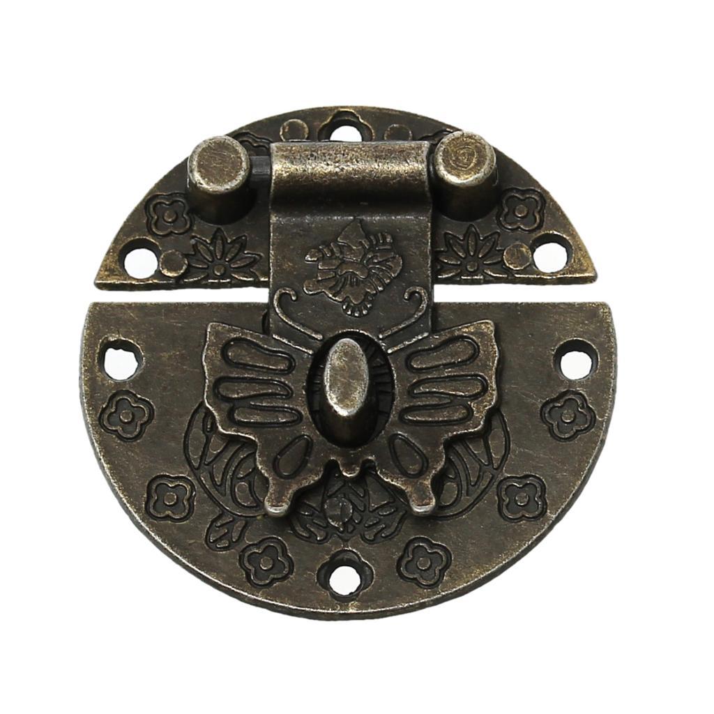 jewelry wooden box lock hardware antique bronze flower