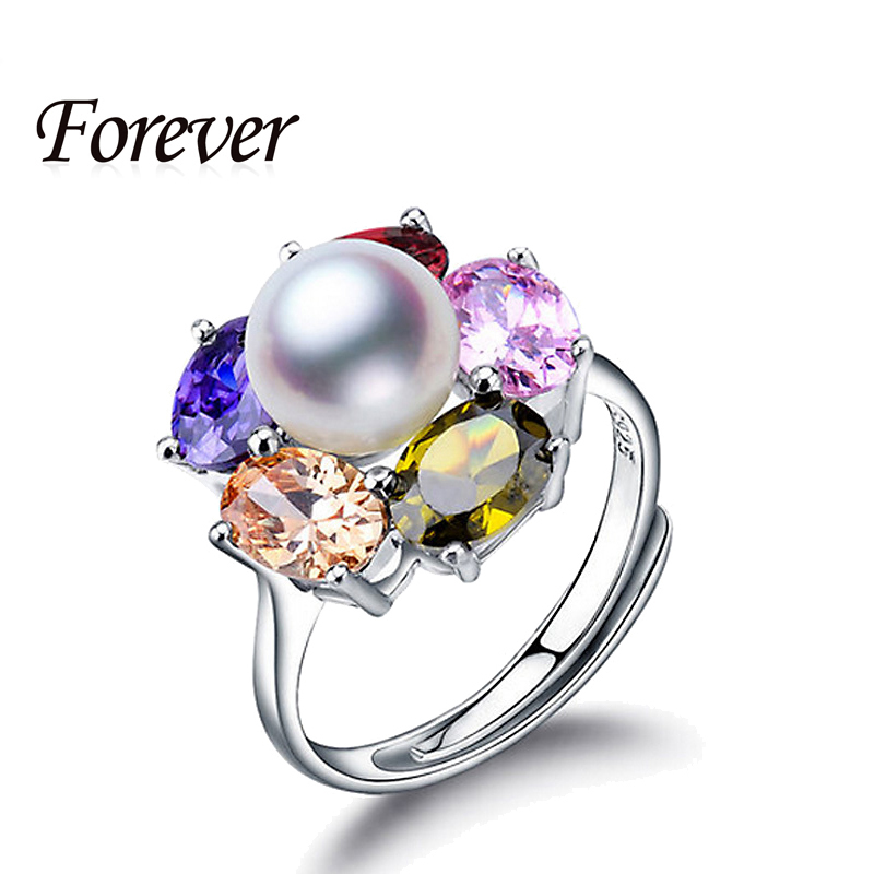2015 New Colorful Ruby Zirconia Diamond 925 Sterling Silver Jewelry Natural big Pearl Adjustable Rings for women ring with box(China (Mainland))