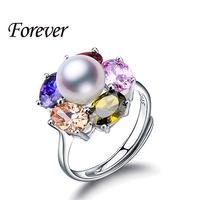 2015 새로운 다채로운 루비 지르코니아 다이아몬드 925 스털링 실버 보석 천연 큰 진주 조정 반지 여성 반지 상자