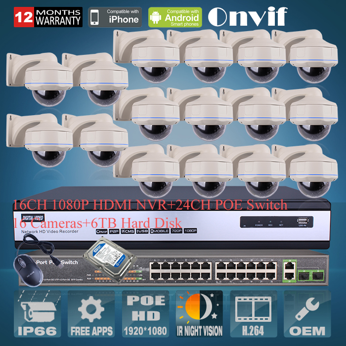 6TB HDD 24CH POE Switch Onvif 16CH H.264 NVR Security CCTV System 1080P 2MP HD Outdoor Vandal-proof IR IP Network POE Camera(China (Mainland))