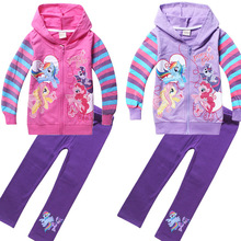 Hot Sale Fashion Spring Autumn Girls Sport Suit Set Long Sleeve Children Hoodies+Pants Clothes Sets Little Pony Clothing Sets
