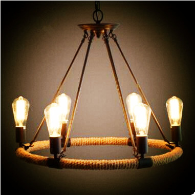 rustic style retro lampe vintage rope lamp loft industrial lighting pendant lights edison light. Black Bedroom Furniture Sets. Home Design Ideas
