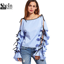 SheIn Spring 2017 Women Clothing Women Blouse New Fashion Boat Neck Blue Striped Bow Tie Split Ruffle Long Sleeve Blouse(China (Mainland))
