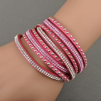 Бесплатная доставка продажа оптовая продажа мода браслет обруча многослойных браслеты 6 цветов на выбор для женщин подарок WRBR-003
