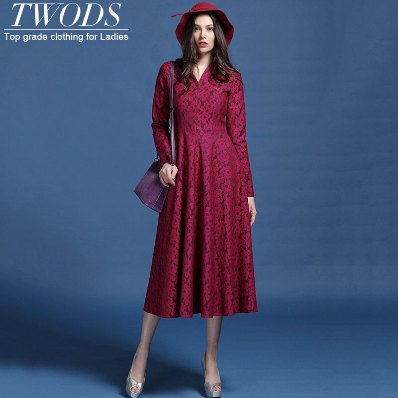 Twods 2015 new fashion Solid color plum high quality lace womens long dresses Sexy V-neck long sleeve pretty party dressesОдежда и ак�е��уары<br><br><br>Aliexpress