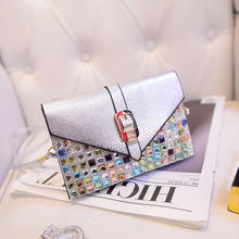 New handbags hand-painted with diamond phone package zero purse shoulder diagonal packet diamond-studded mobile phones wallets
