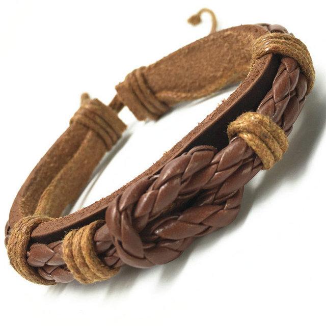 Мода ручной работы старинных манжеты из натуральной кожи браслеты браслеты для женщин ...