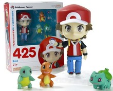 Pokemon Action Figure Toy Nendoroid Ash Ketchum Zenigame Charmander Bulbasaur Action Figure Pokemon Red Anime Collectible Model