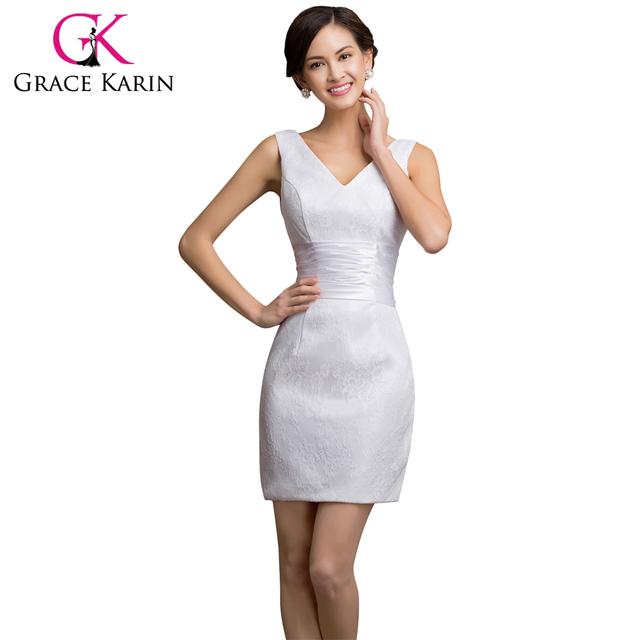 2016 дубль шеи грейс карин сексуальная тафта белое кружево платье мини короткие ну ...
