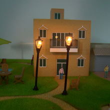 HO Scale Model Layout Single Head Garden Lights Lamppost Lamp 1:100 Black 20pcs Model Garden Lamps Model Building Kits(China (Mainland))
