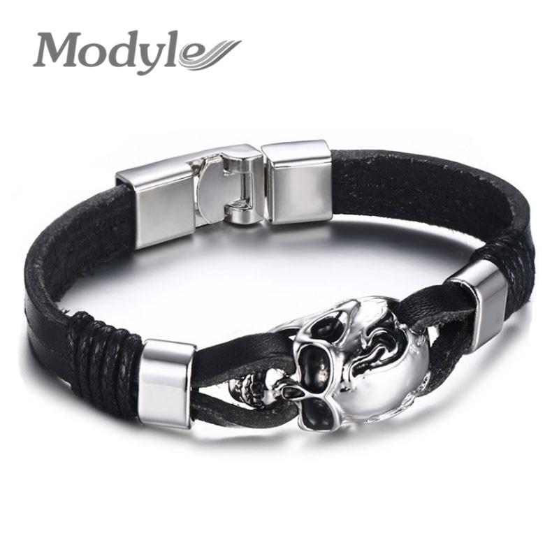 Modyle Men Genuine Leather Skull Bracelets Rock Punk Stainless steel Charms Cuff Bracelets Bangles(China (Mainland))