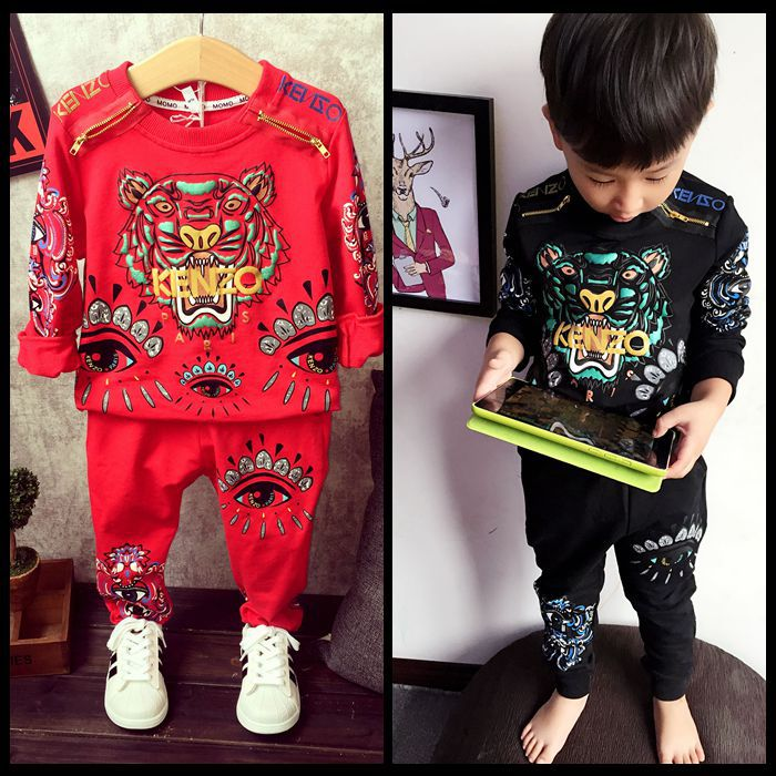 Baby boy clothes casual cartoon tiger print sets for boys How to get cheap designer clothes