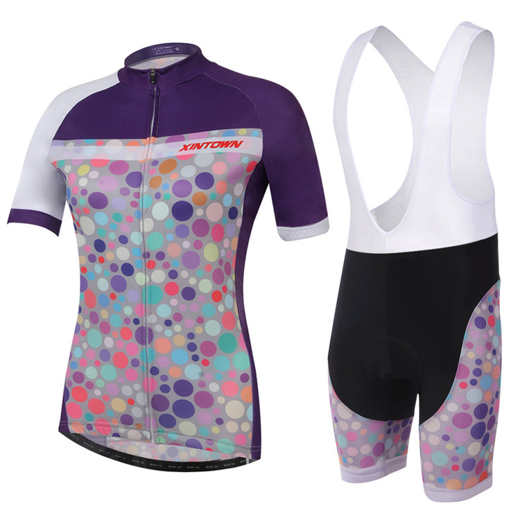 2015 Colorful Polyester Women Cycling Jersey Bib Set Quick Dry Bicycle Mountain Bike Team Trekking Sports Clothing Suit(China (Mainland))