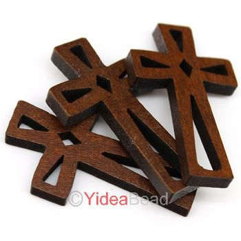 120pcs New Wooden Charms Pendants Beads Cross Pandent Fit Chains Christmas Decoration 44mm 140737