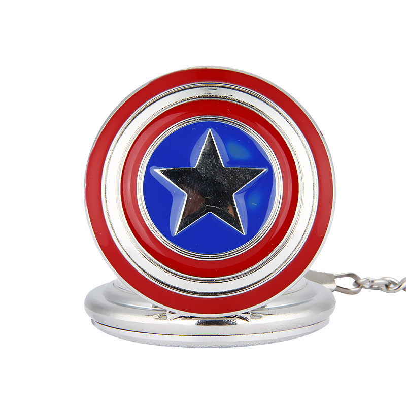 Hot Selling Round Vintage Watch Fashion & Leisure Necklace Pocket Watch For Men Children Best Gift Captain America Men Women(China (Mainland))