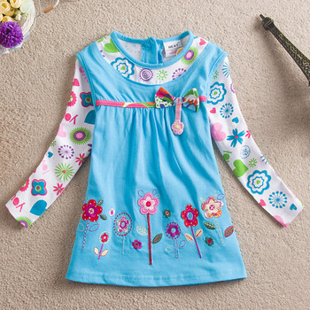 Girl flower dress Nova kids wear clothing long sleeve embroidery floral dress for girls children dress 5PCS girl dresses H2762