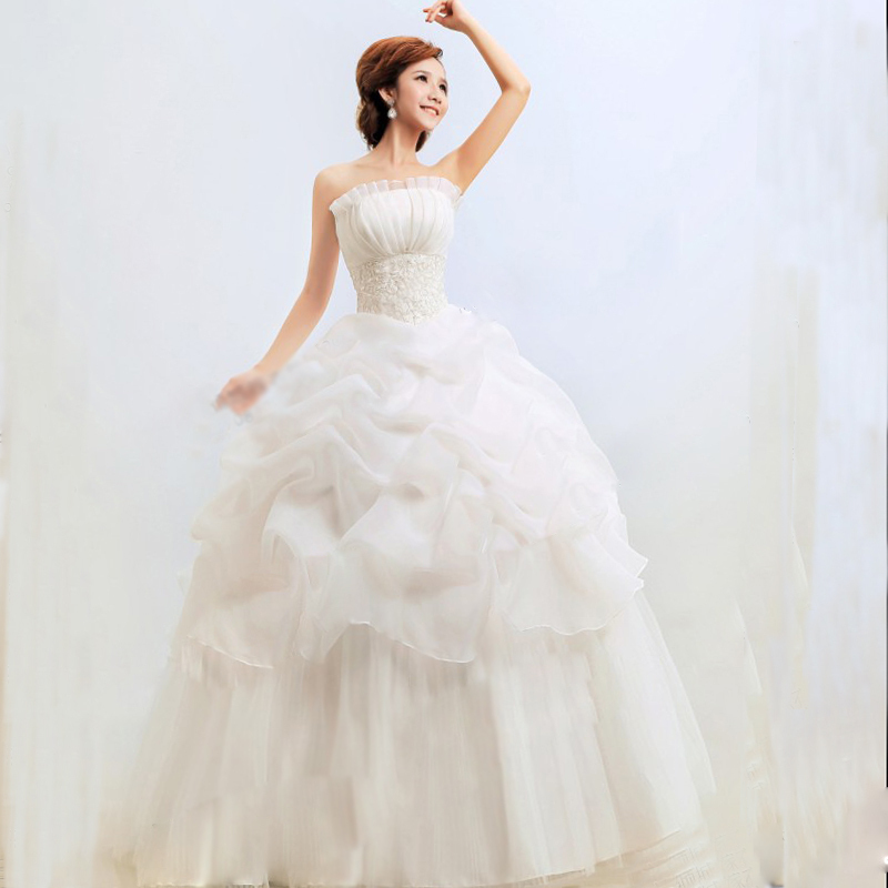 Bridal Gown Wedding Wrapped Chest Slim Waist Layered Lace Chiffon Long Dress 5Sz(China (Mainland))