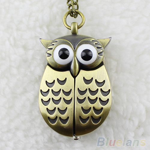 Vintage Bronze Retro Slide Smart Owl Pocket Pendant Long Necklace Watch(China (Mainland))