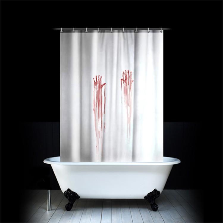 творческий крови Ванна занавес Хэллоуин Ванная занавеска набор водонепроницаемый полиэстер Ванна занавес с крючком 12шт