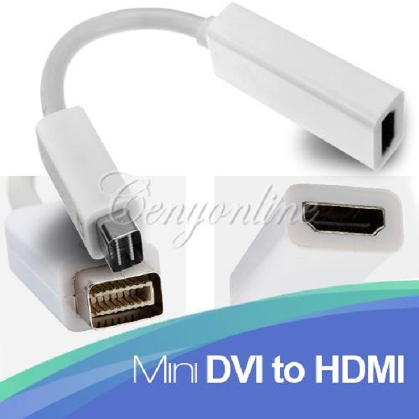 Mini DVI Male To HDMI Female Video HDTV AV White Adapter Extension Connector Cable Converter For Macbook G4 For iMac Wholesale(China (Mainland))