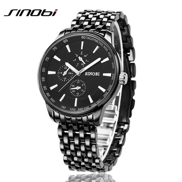 Мода черный полный стали мужчины свободного покроя кварцевые часы мужчин японии часы мужской военная наручные подарков relojes хомбре SINOBI марка