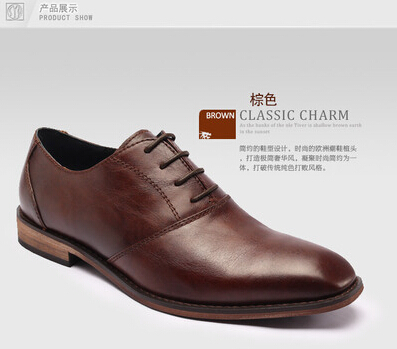 2015 Hot new retro fashion SYD 100%Genuine leather shoes men's lace Wedding shoes casual Flat Oxford man shoes(China (Mainland))
