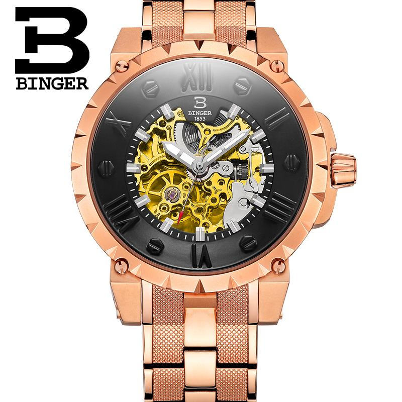 BINGER Switzerland watches men luxury brand automatic mechanical watches hollow steel color golden relogio masculino<br><br>Aliexpress