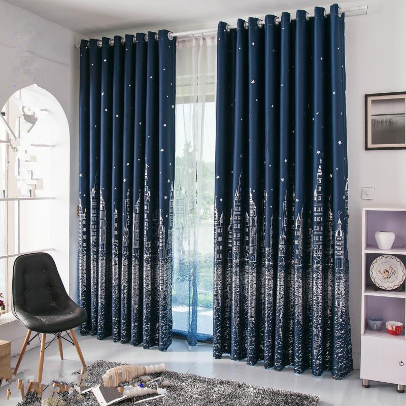 Compra cortinas de color azul marino online al por mayor de china mayoristas de cortinas de - Cortinas azul marino ...