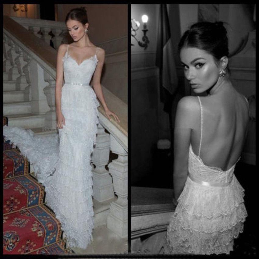 Sexy backless lace sheath wedding dresses sash spaghetti for Backless sheath wedding dresses