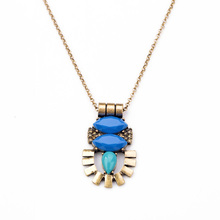 2014 New Arrival Shi Jie Jewelry Antique Gold Resin Zinc Alloy Long Opaque Gem Egyptian Retro Pendant Necklace