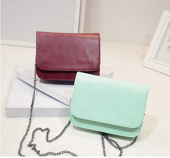 women purses and handbags vintage candy color fashion one shoulder small bag PU Leather chain mini bags women messenger bag(China (Mainland))