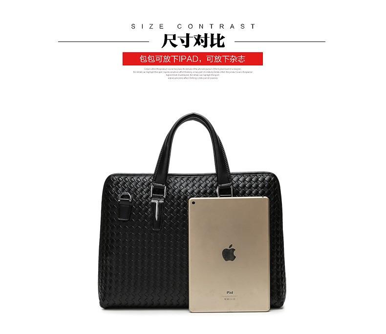 Men Business Synthetic Leather Weaving Briefcase Male Travel Messenger Shoulder Portfolio Laptop Bags Causal Lawer Handbag Bolsa (6)