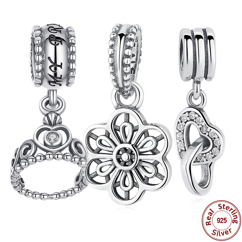 9 Style 925 Sterling Silver My Princess Clear CZ Pendant Dangling Tiara Charm Charms Fit Pandora Bracelet Jewelry Making S014(China (Mainland))