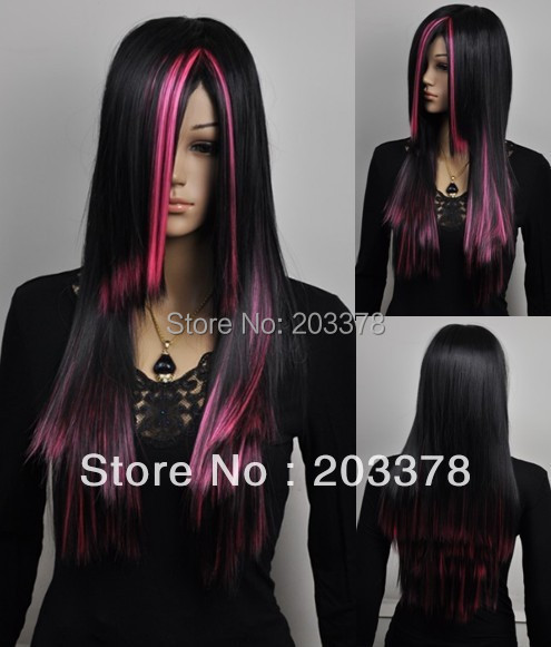 Long straight Black and Red cosplay wig best selling hair high quality free shipping