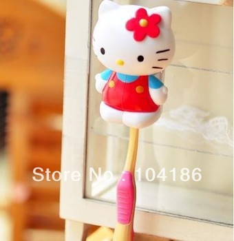 100PCS Super Kawaii Hello Kitty; PVC BOX Sucker Design On WALL--Bathroom Washroom Toothbrush Holder Sanitary  Rack BOX Case;