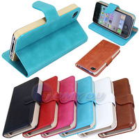 New Elegant Luxury PU Wallet Leather Magnetic Flip Fation Style Case For iPhone 4 4S Free Shipping