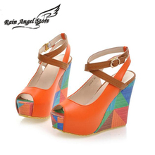 2014 Summer European Fashion Women's Wedges Sandals High Heels Platform Open Toe Ankle Straps Shoes Summer Pumps