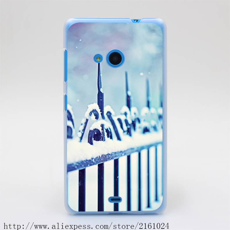 57T Metal Decorative Fence Fragment With Snow Hard Case Cover for Nokia Microsoft Lumia 535 630 640 640XL 730(China (Mainland))