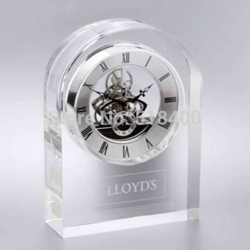 Noble new arrival high quality souvenir wedding gifts crystal table clocks on the table with engraving your logo(China (Mainland))