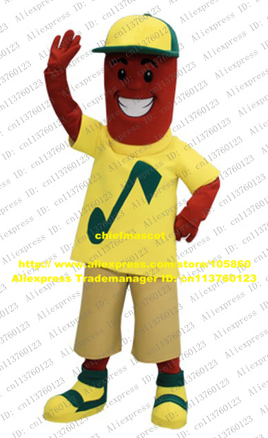 Cool Red Sausage Mascot Costume Mascotte Banger Gammon Wurst Ham With Yellow Blue T-shirt Khaki Pants Red Skin No.8804 Free Ship(China (Mainland))