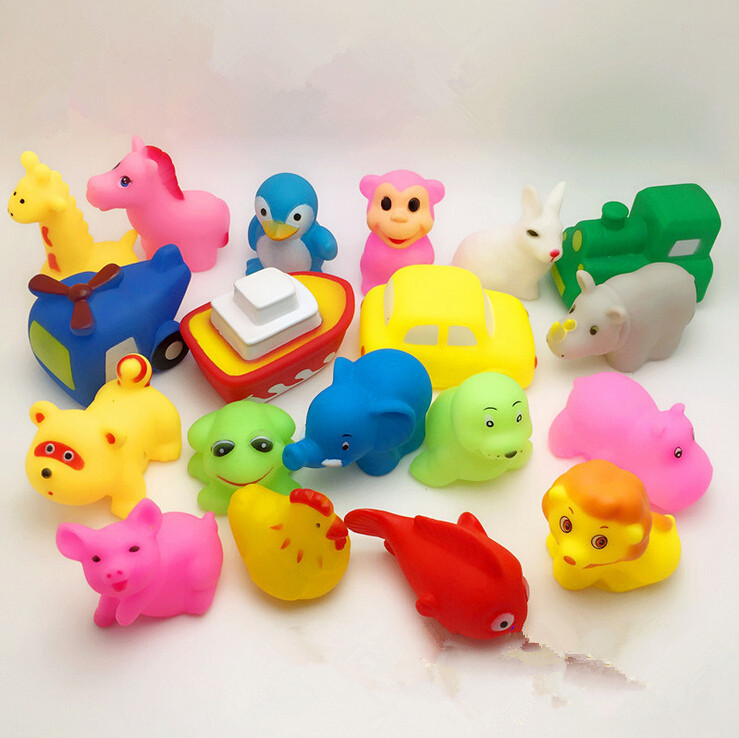 Гаджет  Cute Soft Rubber Float Sqeeze Sound Baby Wash Bath Toys Play Animals Toys None Игрушки и Хобби