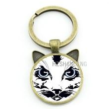 TAFREE gatos homens Do Vintage da moda chave titular cadeia anel keychain engraçado Surpreendido animal bonito de vidro cabochão jóias CN801(China)