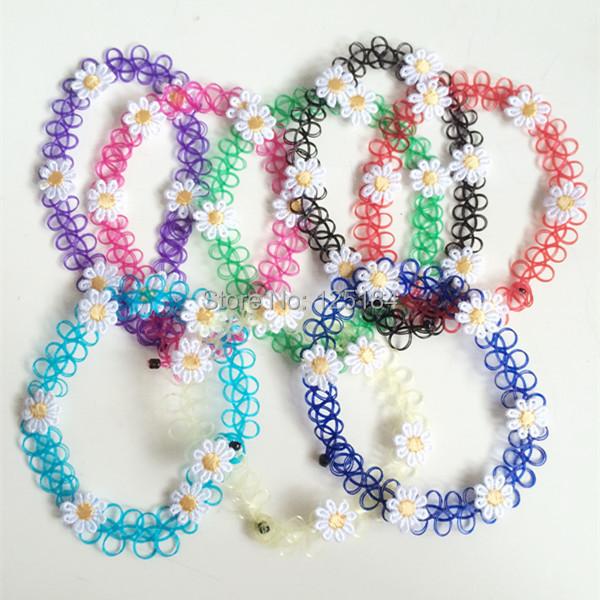 2015 New design 90s Popular Vintage Stretch flower Tattoo choker Hippy Chick Necklace Retro Elastic tattoo daisy Choker - LU LUV Jewelry Factory(Min.order10$ store)