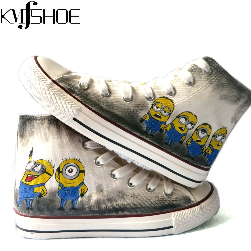 Despicable Minions Women's Fashion Brands Travel Shoes Hand Painted Lovely Female Couple Canvas Lady Casual shoe - Ke Meng Fine Shop store