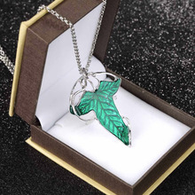 1pcs Charm Green Leaf Elven Pin Pendant Chain Necklace Jewelry 2014 new