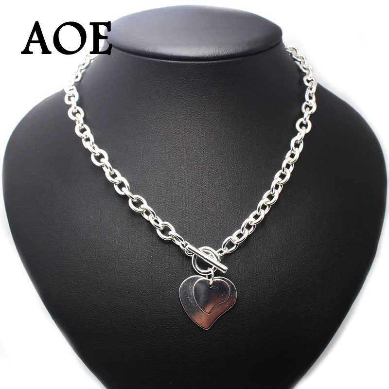 2016 New Big Brand Fashion Silver Plated Two Heart Pendant Necklaces For Women Jewelry Big Thick Chain Short Necklace Gift(China (Mainland))