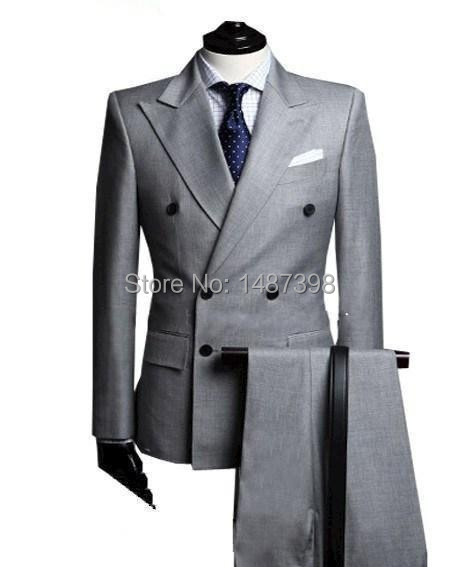Double-Breasted-Side-Vent-Light-Grey-Groom-Tuxedos-Peak-Lapel-Groomsmen-Mens-Wedding-Tuxedos-Prom-Suits