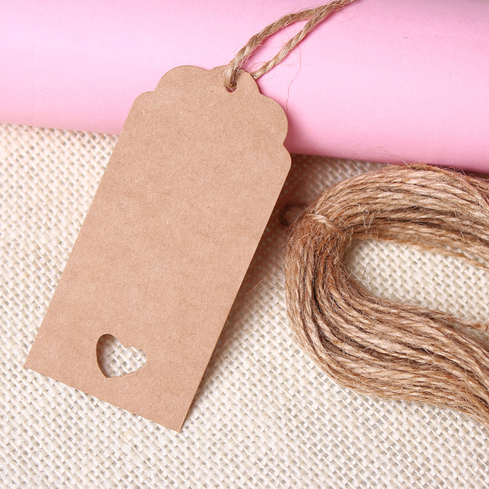 Wedding Kraft Hang Tags Brown Paper Party Favor Punch Label Price Gift Cards For Festive Party(China (Mainland))