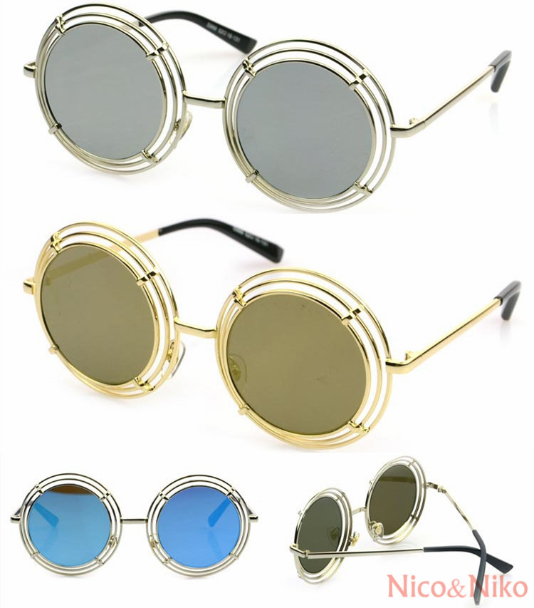 6 Color Round Wire Frame Reflective Coating Steampunk Glasses 2014 New Vintage Fashion Summer